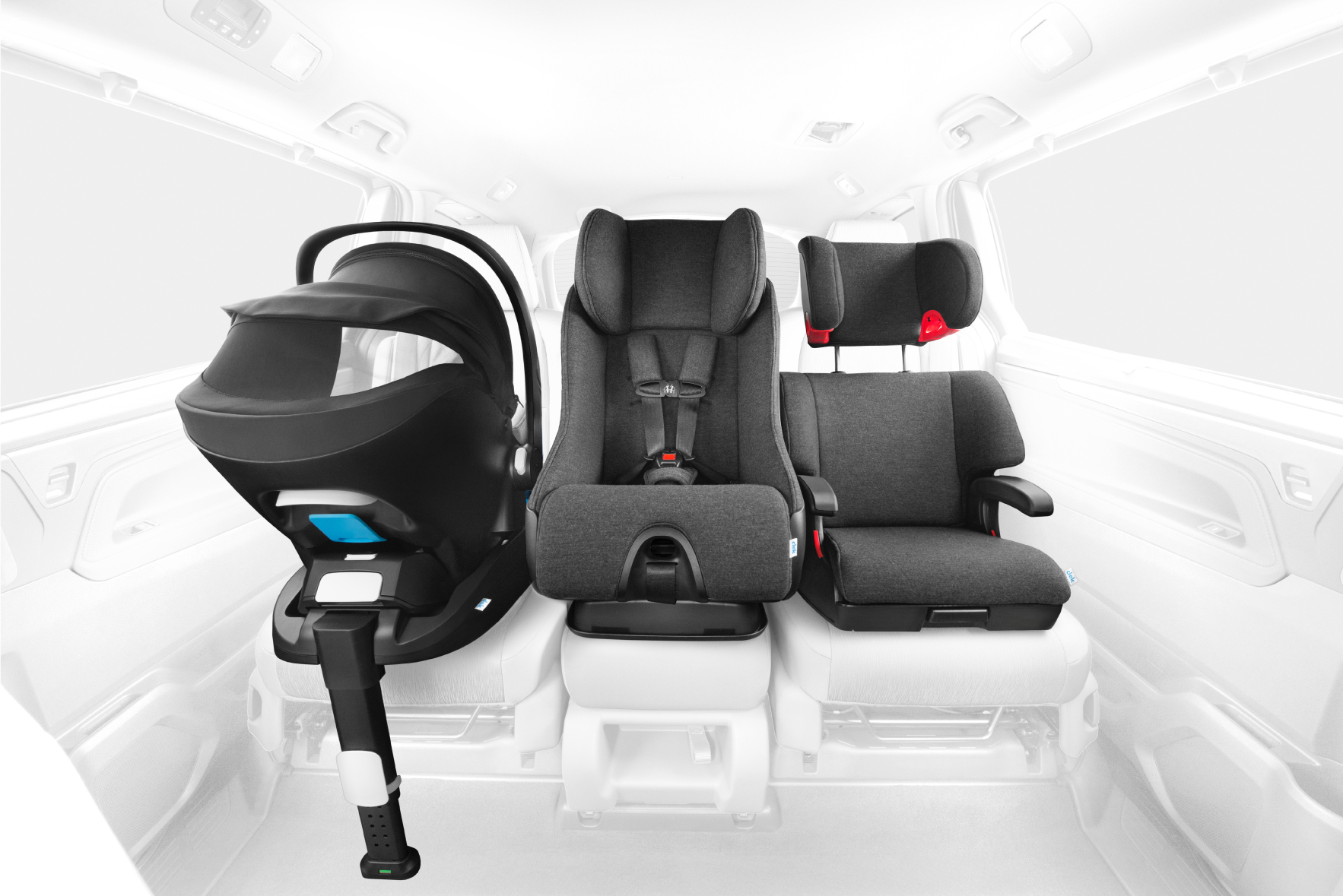 Rendering showing 3 types of car seats: rear-facing infant seat, convertible car seat in forward-facing position, and booster seat. Photo courtesy of Clek.
